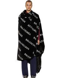 Balenciaga Oversize Faux Fur Logo Blanket - Black