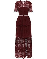 Self-Portrait Lace Long Dress - Red