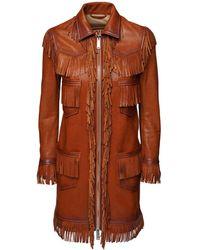 DSquared² Кожаное Пальто С Бахромой - Коричневый