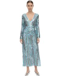 RIXO London Emmy Sequined Viscose Midi Dress - Blau