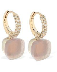 Pomellato Nudo 18kt Earrings W/ Quartz & Diamond - Multicolour