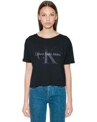Calvin Klein Jeans - Cropped Ck Logo Printed Cotton T-shirt - Lyst