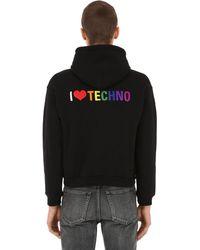 """Balenciaga Felpa """"i Love Techno"""" Con Cappuccio - Nero"""
