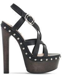 DSquared² 140mm Leather & Wooden Heel Sandals - Black