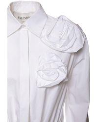 Valentino Blossom コットンポプリンドレス - ホワイト