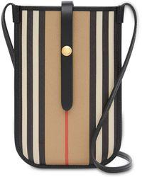 Burberry Icon Stripe Phone Pouch 18cmx12cm - Black