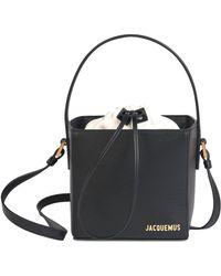 Jacquemus Le Seau Carre レザーバケットバッグ - ブラック