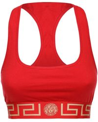 Versace Bh-oberteil Aus Stretch-jersey - Rot