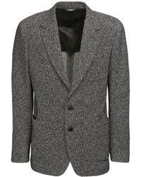 Dolce & Gabbana コットン&ウールシェブロンジャージージャケット - グレー