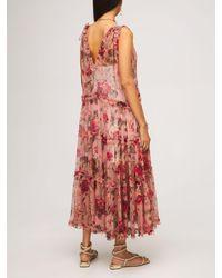 Zimmermann Платье Из Шелкового Шифона - Розовый