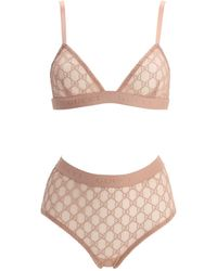 Gucci Gg Embroidered Sheer Tulle Lingerie Set - Pink