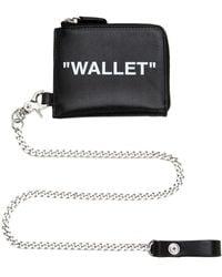 Off-White c/o Virgil Abloh Zip Around Leather Wallet W/ Chain - Black