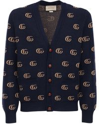 Gucci Double G ジャカードウールカーディガン - ブルー