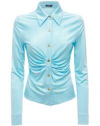 Versace Hemd Aus Viskosejersey - Blau