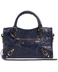 Balenciaga Mini City Logo Leather Top Handle Bag - Blue