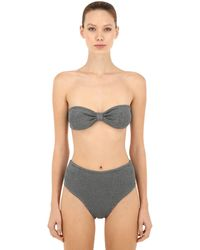Hunza G High Waist Seersucker Bandeau Bikini - Grey
