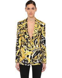 Versace Пиджак Из Шелка С Принтом - Желтый