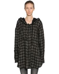 Faith Connexion - Oversize Hooded Wool Blend Tweed Jacket - Lyst
