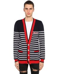 Balmain Striped Cardigan - Blue