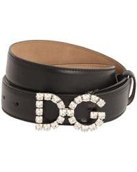 Dolce & Gabbana Calfskin Belt With Dg Crystal Logo - Noir