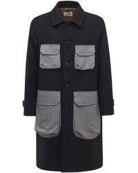LC23 Wool & Nylon Coat - Blue