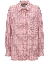 MSGM コットンブレンドツイードシャツ - ピンク