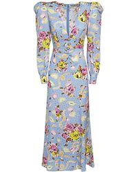 Alessandra Rich Floral Ribbon シルクドレス - ブルー