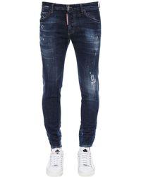 "DSquared² Jeans ""Skinny Dan"" De Denim De Algodón 16Cm - Azul"