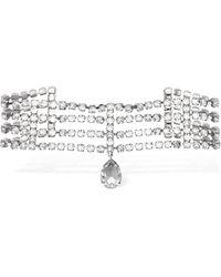 Alessandra Rich Collar Choker Con Cristales Y Colgante - Metálico
