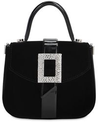Roger Vivier Beau Vivier Velvet Top Handle Bag - Black