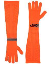 Prada Logo Intarsia Tech Knit Long Gloves - Orange