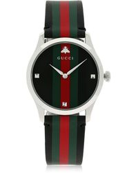 Gucci 38mm G-timeless Leather Watch - Black