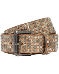 Htc Los Angeles 35mm Studded Leather Belt - Natural