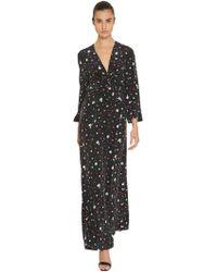 Ganni - Flower Print Washed Silk Maxi Dress - Lyst