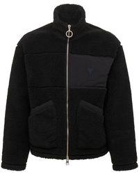 AMI コットンフリースジップジャケット - ブラック