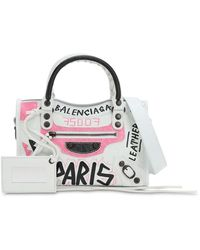 Balenciaga 'classic City Graffiti' Print Mini Leather Shoulder Bag - White