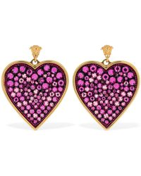 Versace Heart Crystal Statement Earrings - Multicolor