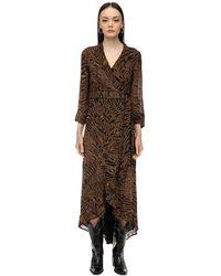 Ganni ジョーゼットラップドレス - ブラウン