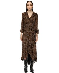 Ganni Платье Из Жоржет - Коричневый
