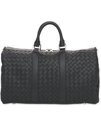 Bottega Veneta Hydrology Intreccio Leather Duffle Bag - Black