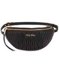 Miu Miu マトラッセレザー ウェストバッグ - ブラック