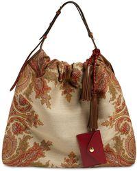 Etro Jacquard & Leather Hobo Bag - Brown