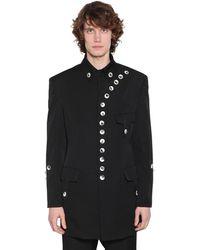 Yohji Yamamoto Gabardine Wool Jacket W/ Buttons - Black