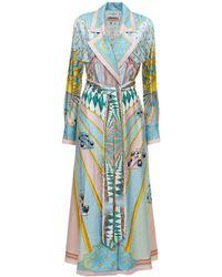 CASABLANCA シルクツイルドレス - ブルー