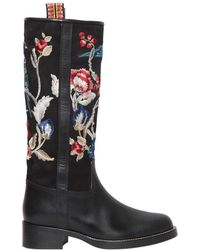 Etro - 30mm Embroidered Suede & Leather Boots - Lyst
