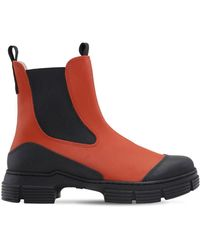 Ganni 45mm Ankle Rubber Rain Boots - Brown