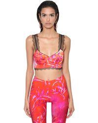 Versace Jungle Print Twill & Lace Bra Top - Многоцветный