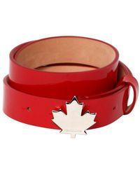 DSquared² - 25mm Patent Leather Belt W/ Leaf Detail - Lyst
