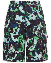 KENZO Bedruckte Cargo-shorts Aus Baumwolle - Grün