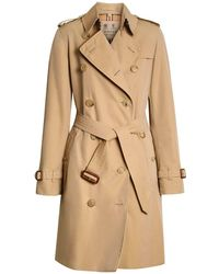 "Burberry Trench Mi-long En Toile ""kensington"" - Neutre"